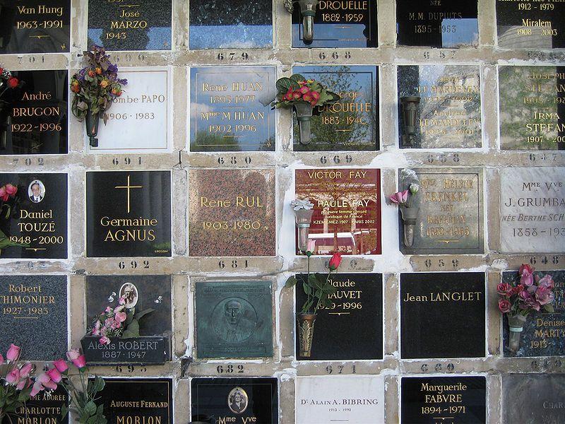 Detail of the columbarium at Père Lachaise Cemetery, Paris
