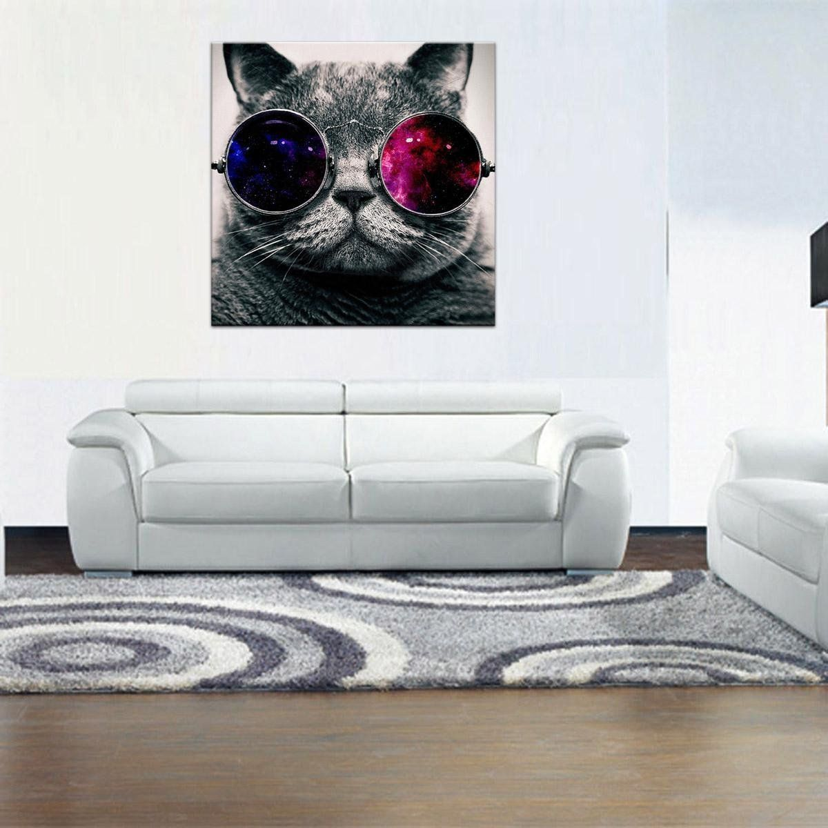 Rain queen cool cat with sunglasses oil paintings on canvas wall art