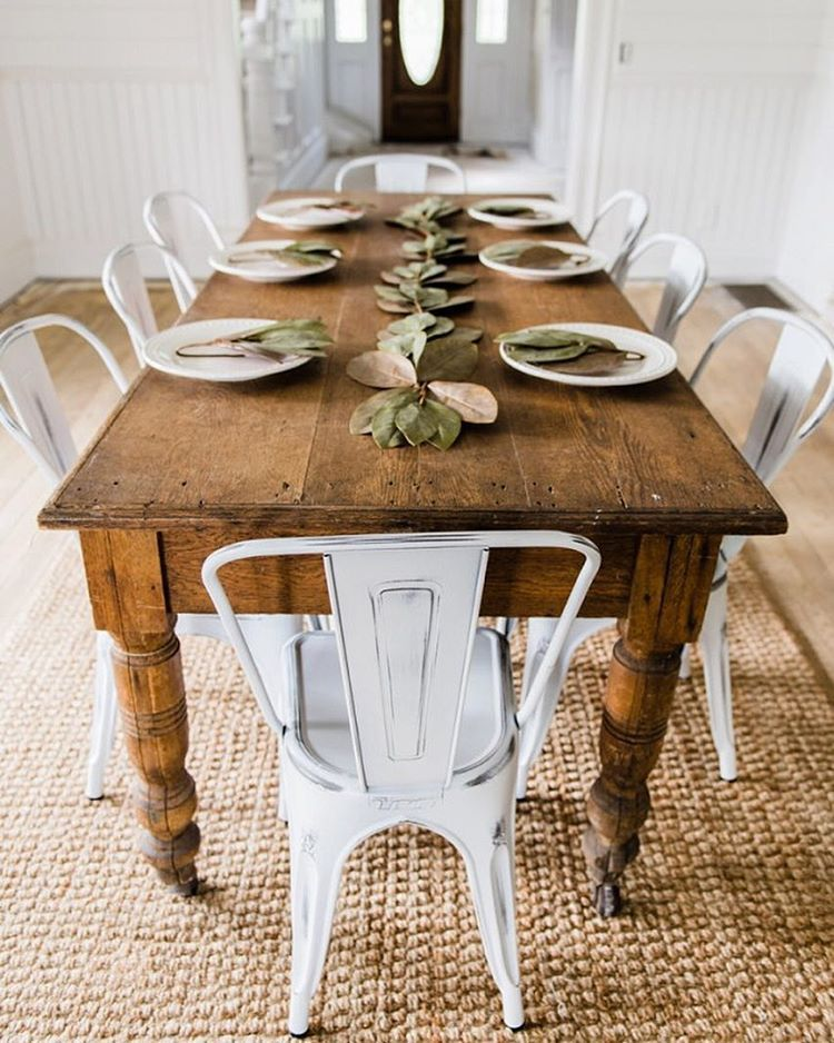 Farm Table And White Chairs 3 What Fun This Would Be To