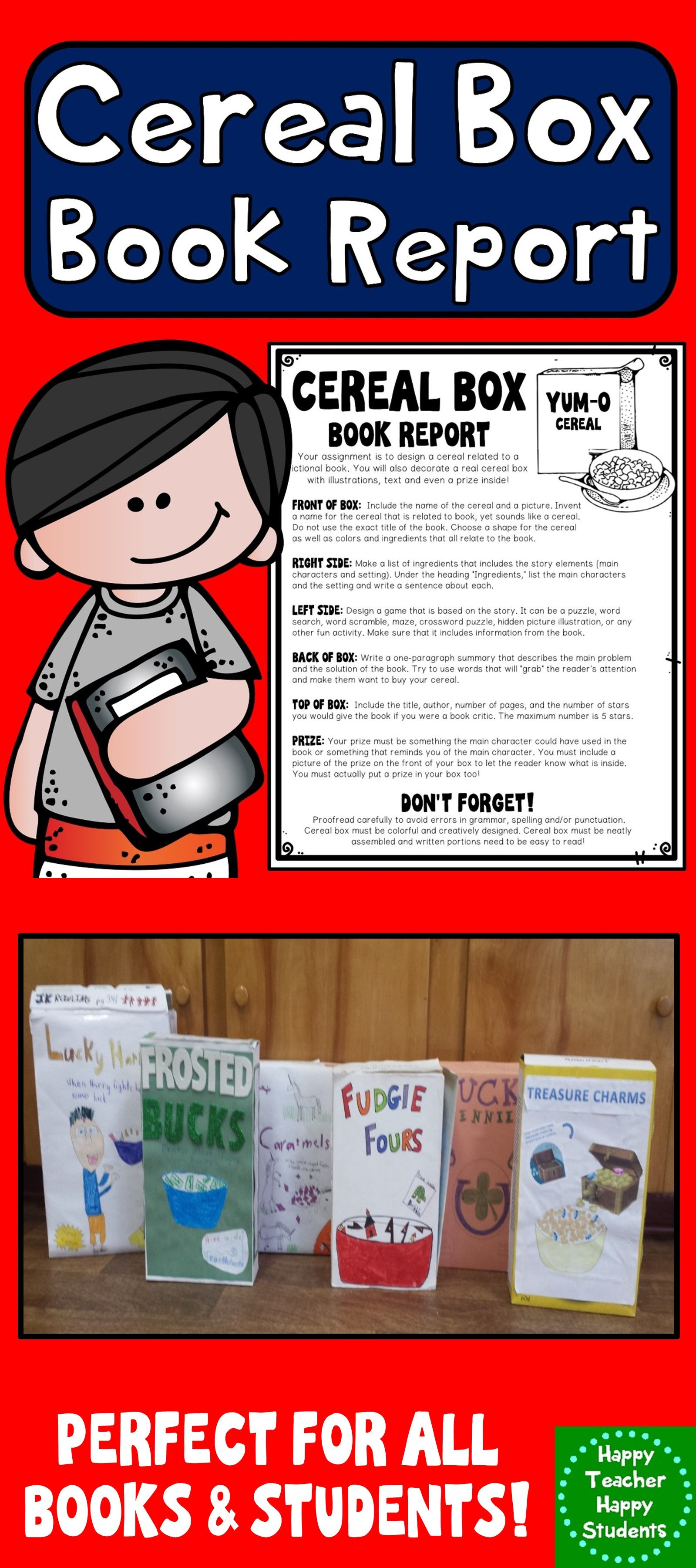 Cereal Box Book Report Template Directions Rubric