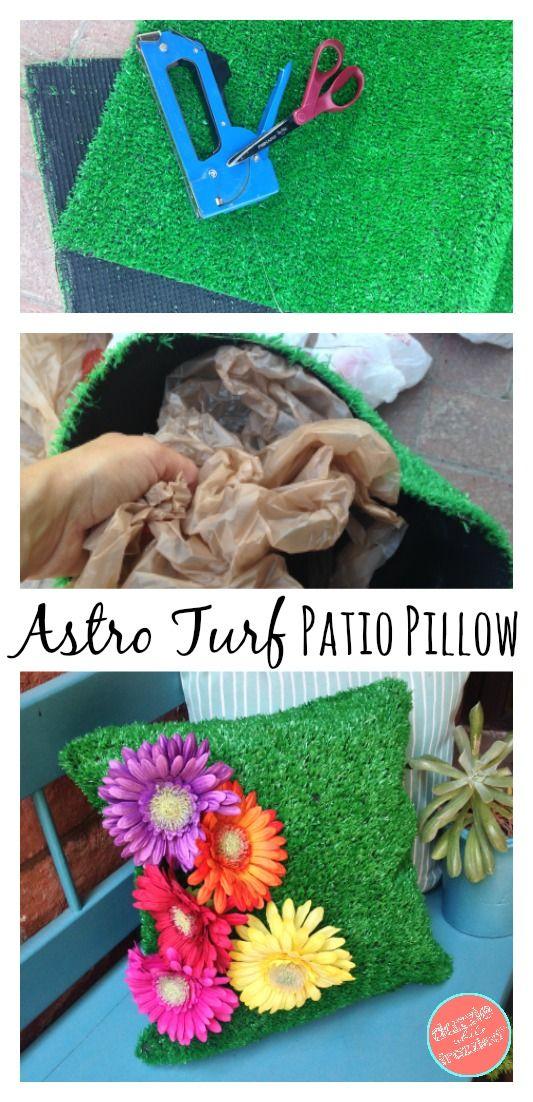 High Quality DIY Astro Turf Outdoor Pillow | DIY Patio Pillow | DIY Outdoor Decor |  Weatherproof Pillow