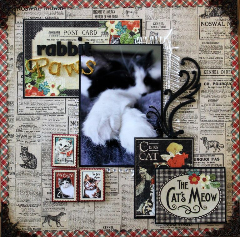 Austin Cat Scrapbooking Layout Graphic45 Raining Cats And Dogs