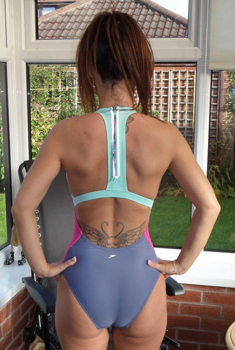 Green Pink Speedo Highneck Swimsuit Shiny Lycra Spandex Zip
