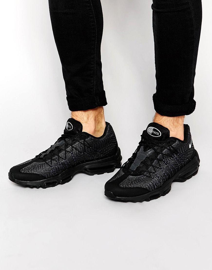 new product f65bb 519c2 Nike Air Max 95 Ultra Jacquard all Black Shoes