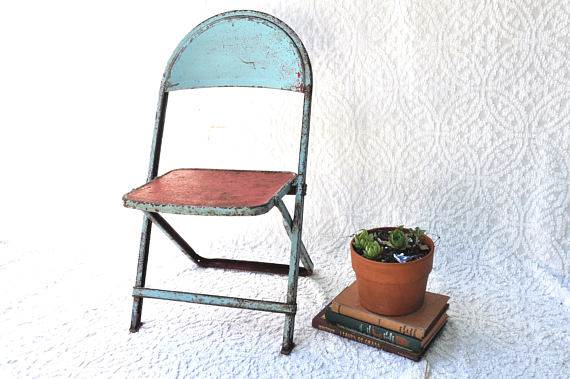 Surprising Rustic Baby Blue Folding Kids Chair Distressed Metal Caraccident5 Cool Chair Designs And Ideas Caraccident5Info