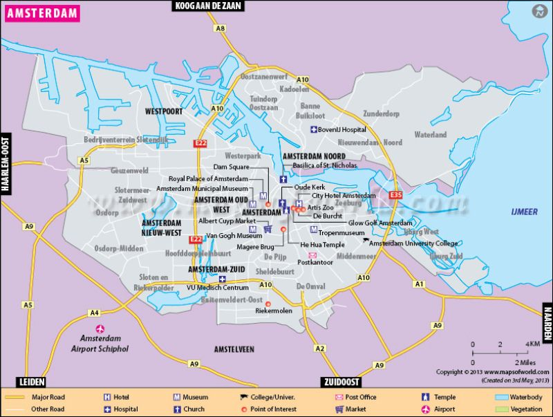 City Map Of Amsterdam Netherlands Amsterdam Map City Map