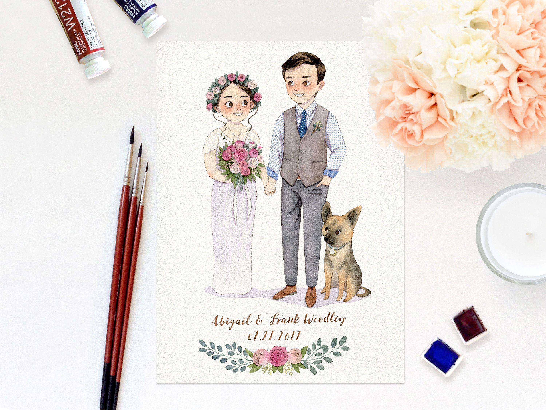 Custom Wedding Portrait Original Watercolor Illustration Couple