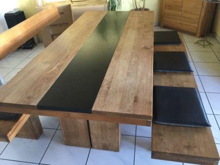 Schreiner Esstisch massiv aus Teak mit Granitplatte und Sitzbänke ...