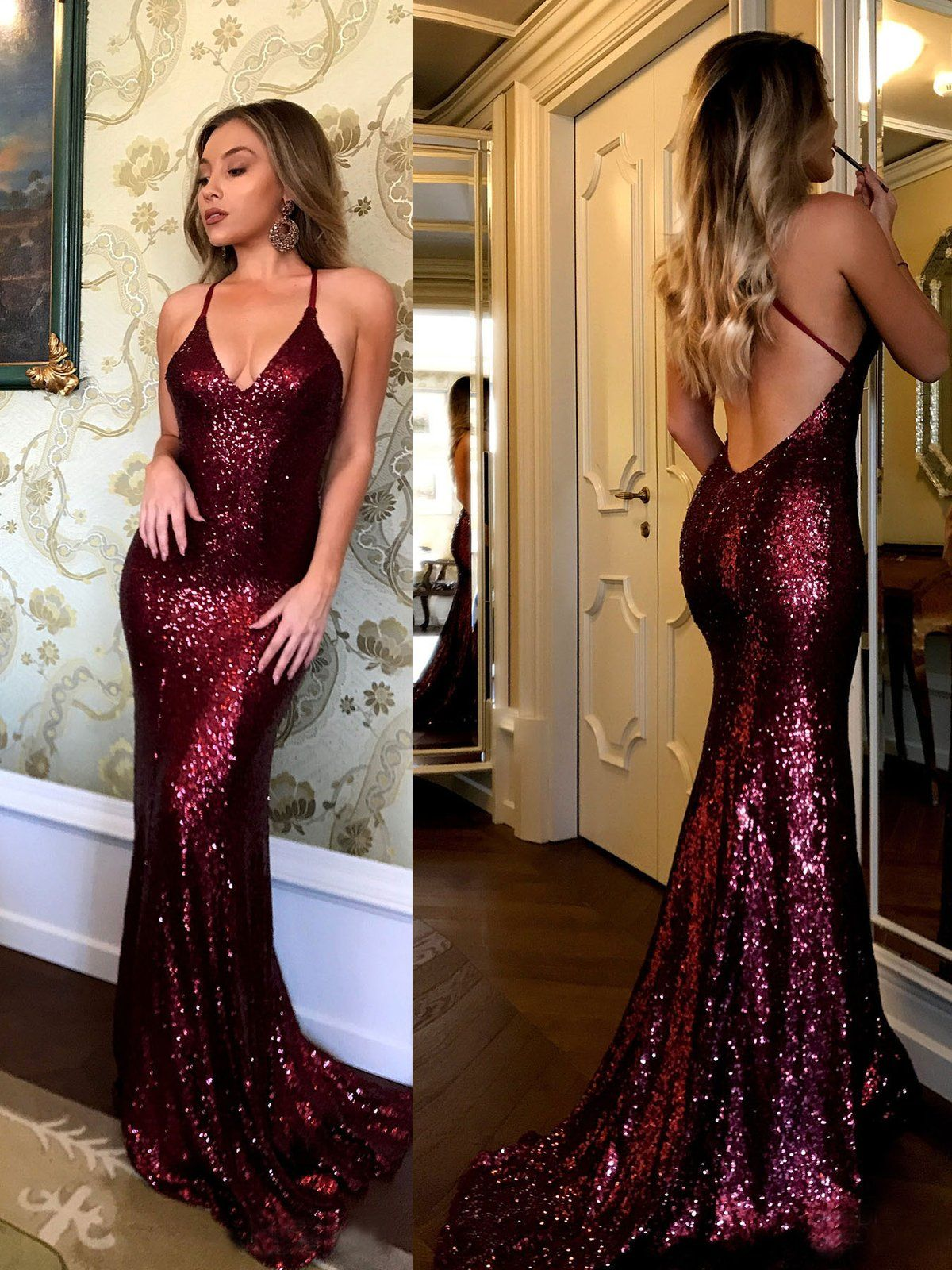 Spaghetti strap vneck burgundy formal dress sequins sexy mermaid
