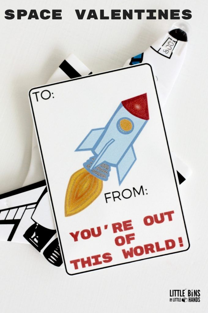 Printable Rocket Ship Valentines Cards For Kids Space Themed