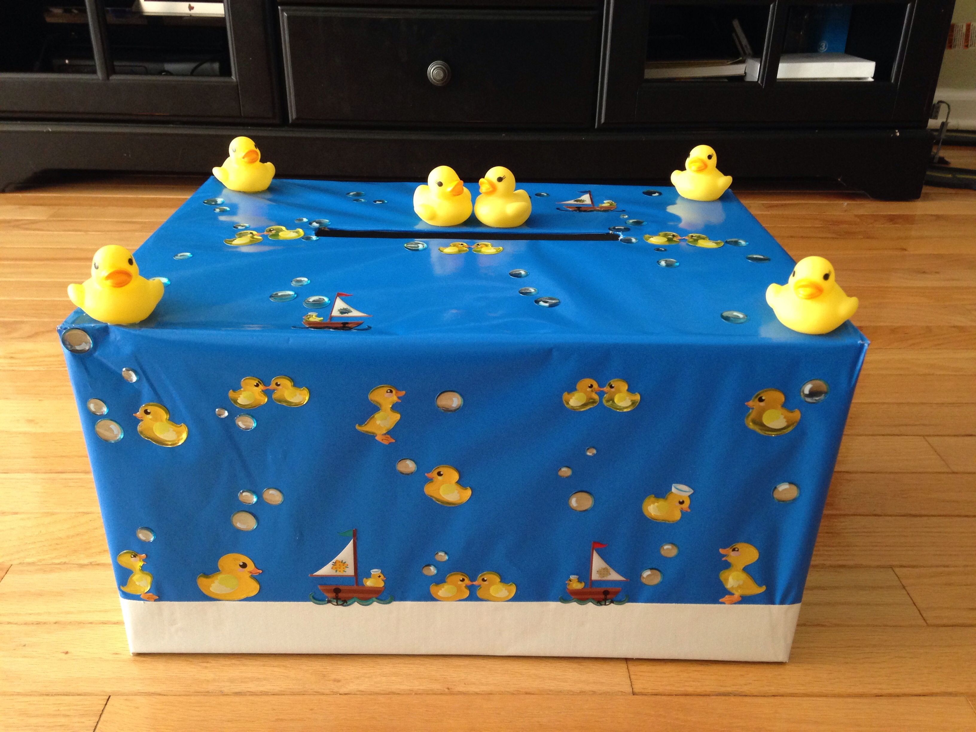 Baby shower card box rubber ducky theme for expected twins