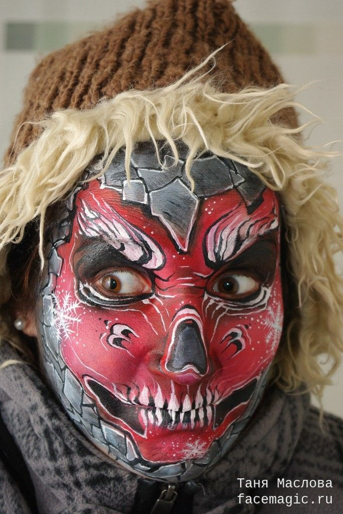 Scary snow maiden Face paint by Tanya Maslova Scary Cool - halloween face paint ideas scary