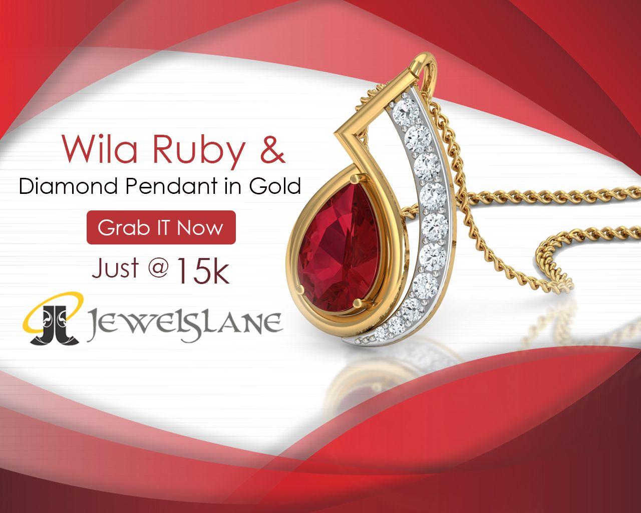 Wila ruby pendant in gold studded with pear shape ruby and