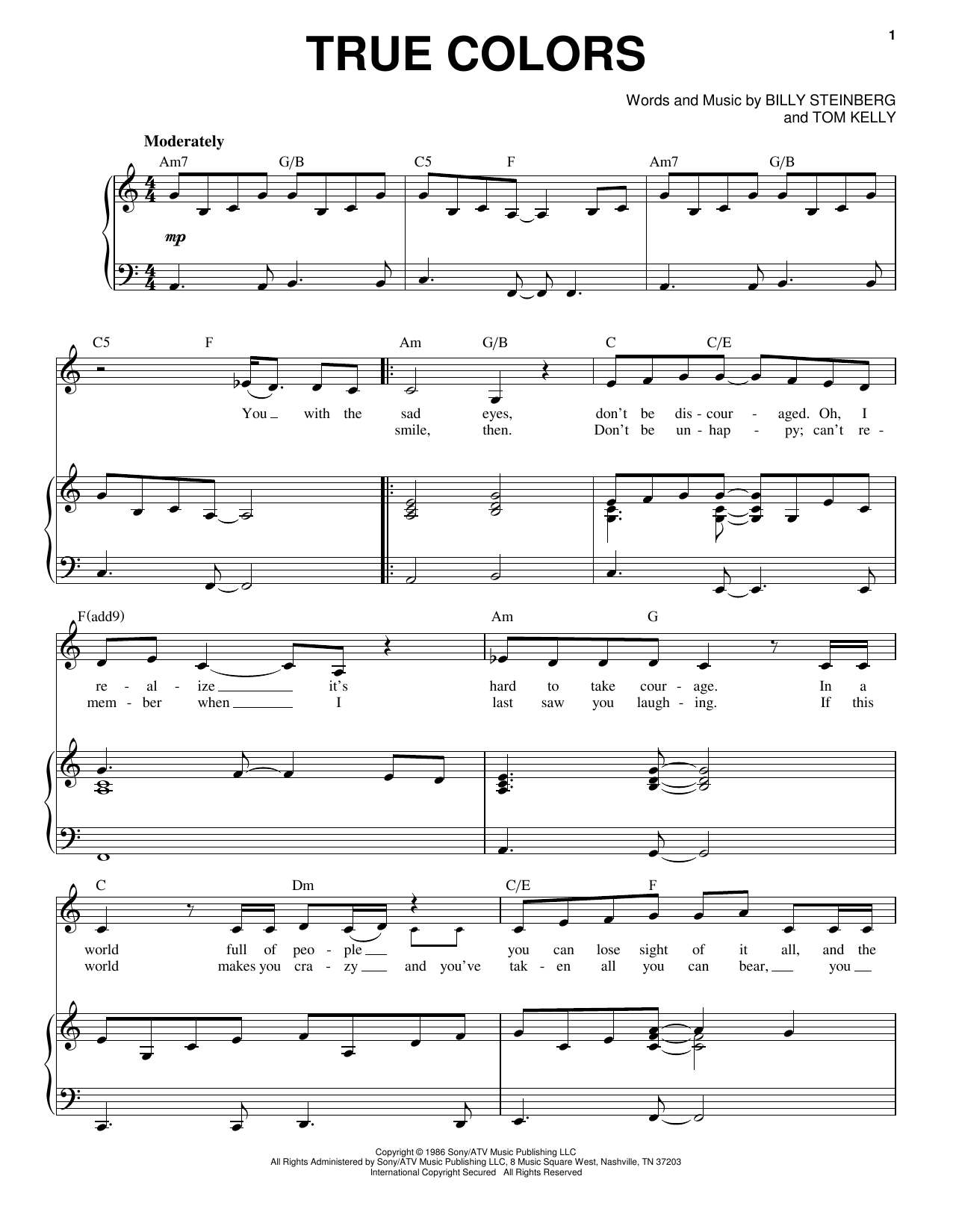 Cyndi Lauper True Colors Sheet Music Notes Amp Chords In