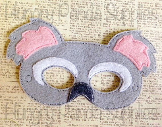 Koala Bear Mask Embroidery Design Machine ITH In The Hoop Embroidered 5x7 6x10