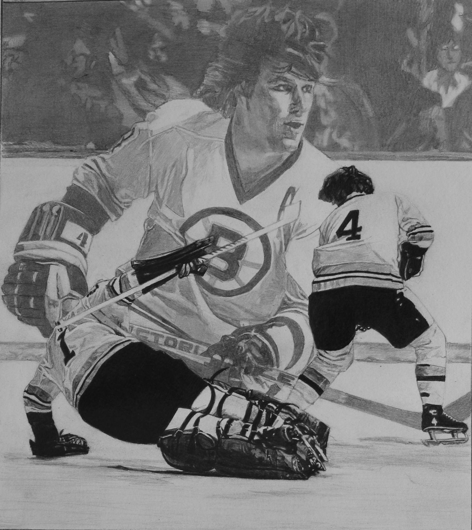 Bobby Orr Hockey Art Pencil Drawing By Robb Scott Hockey Drawing Sports Drawings Sports Art