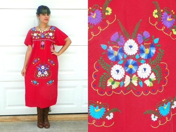 Vintage Red Mexican Embroidered Dress with by Enchantedfuture