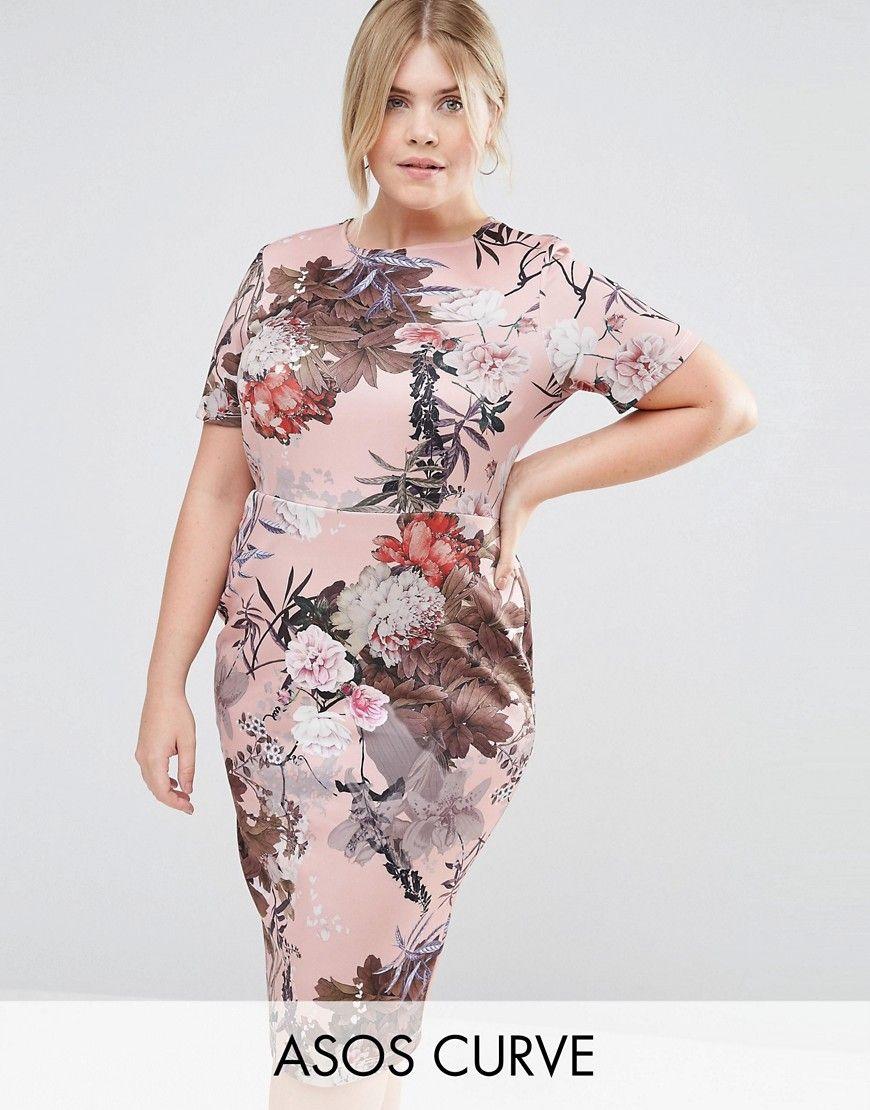 Asos Curve Vestido ajustado estilo camiseta con estampado de flores de ASOS CURVE llEQW