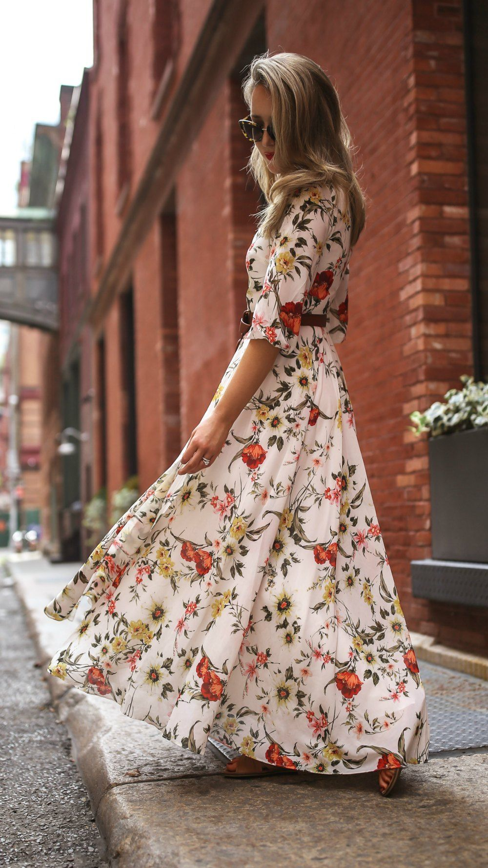 Maxi Dresses Drama Dressing Floral Print Maxi Dress With 3 4 Sleeves Brown Leather Belt Bag Large Tortoise Maxi Dress Cute Maxi Dress Floral Maxi Dress [ 1778 x 1000 Pixel ]