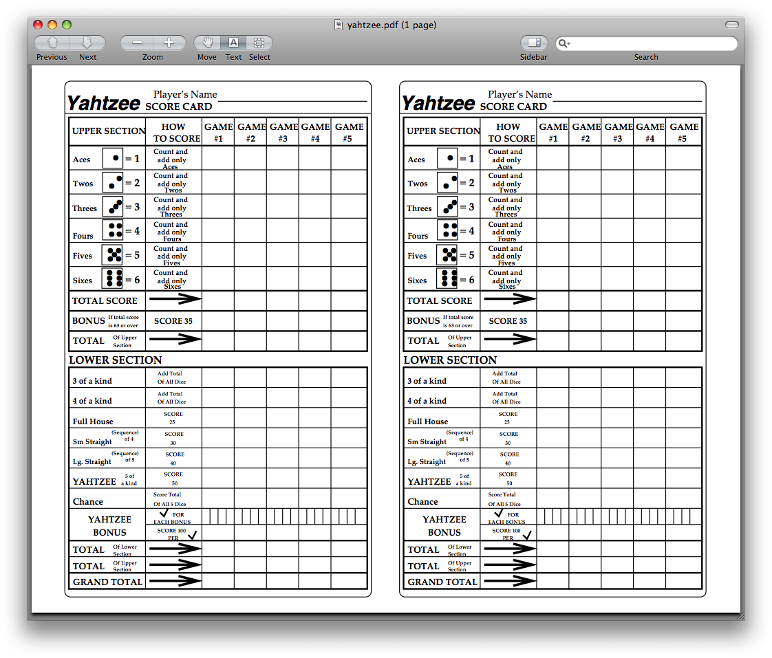 Yahtzee Score Sheets Printable  Kiddo Shelter  Yahtzee Score