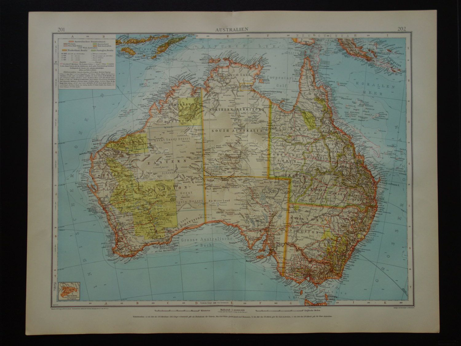 1910 antique large map of australia beautiful old detailed big print about australie perth