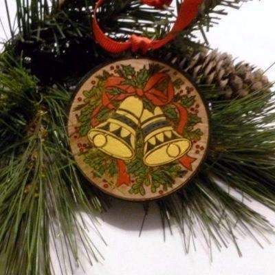 Handmade wood Christmas bells tree ornaments and decorations