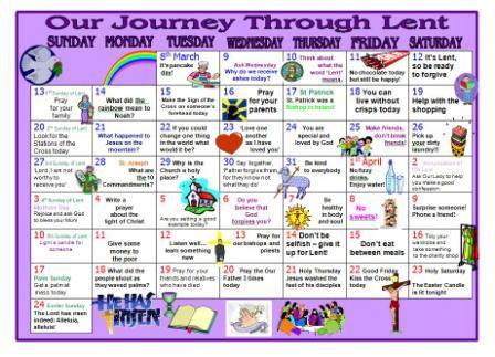 Lentern Resource Printable Lent Calendar To Encourage Children To