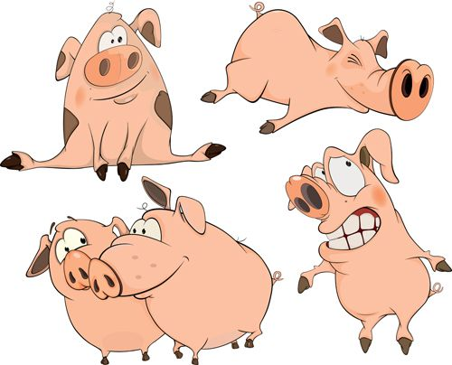 Cartoon big nose pig vector design 02   Cartoons & Characters ...