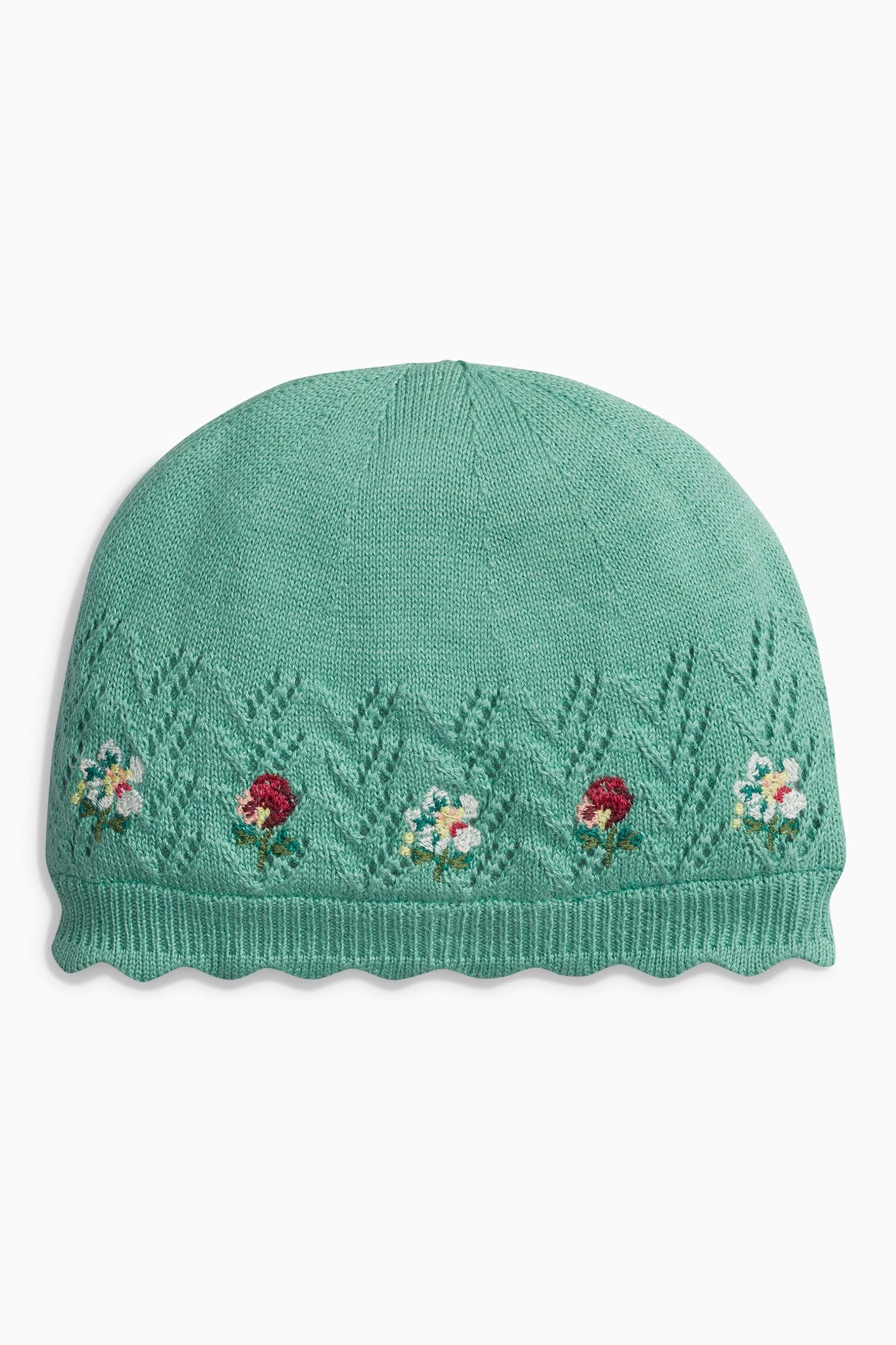Buy Green Embroidered Knit Hat (0mths2yrs) From The Next Uk Online Shop