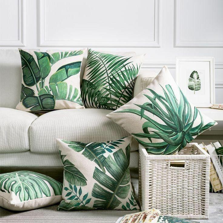 Plant pillows. Botanical decor. Green decor. Home decor ...
