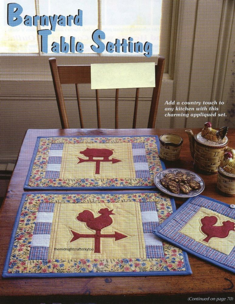 Barnyard Table Setting Quilt Pattern Pieced/Applique CF