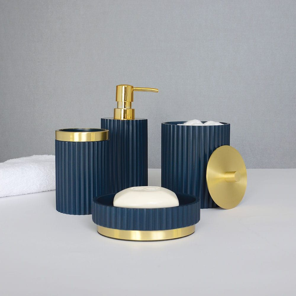 Ridges Bath Accessories Collection By Elle Soap Dish Navy Gold In 2020 Bath Accessories Gold Bathroom Accessories Gold Soap