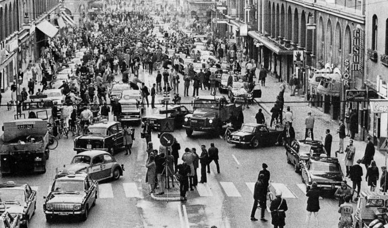 En Suecia cambiaron el transito de la izquierda hacia la derecha y se formó esto.