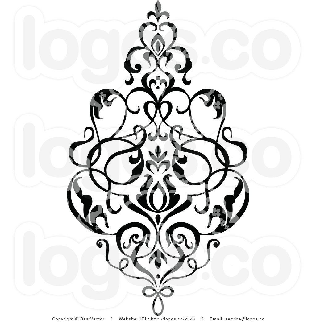 damask clip art royalty free black patterned damask design logo by rh pinterest com damask borders clip art free Free Heart Clip Art