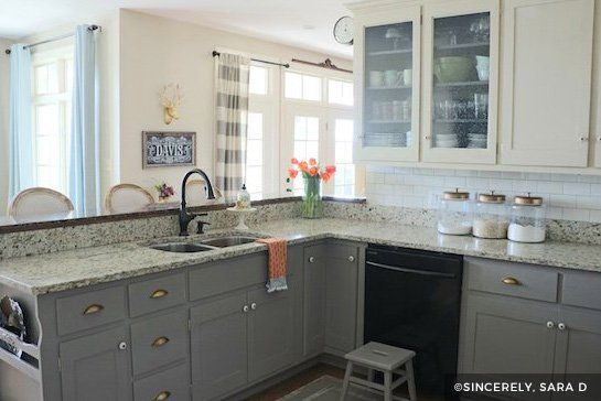 Dark gray and white painted cabinets small kitchen design in 2018