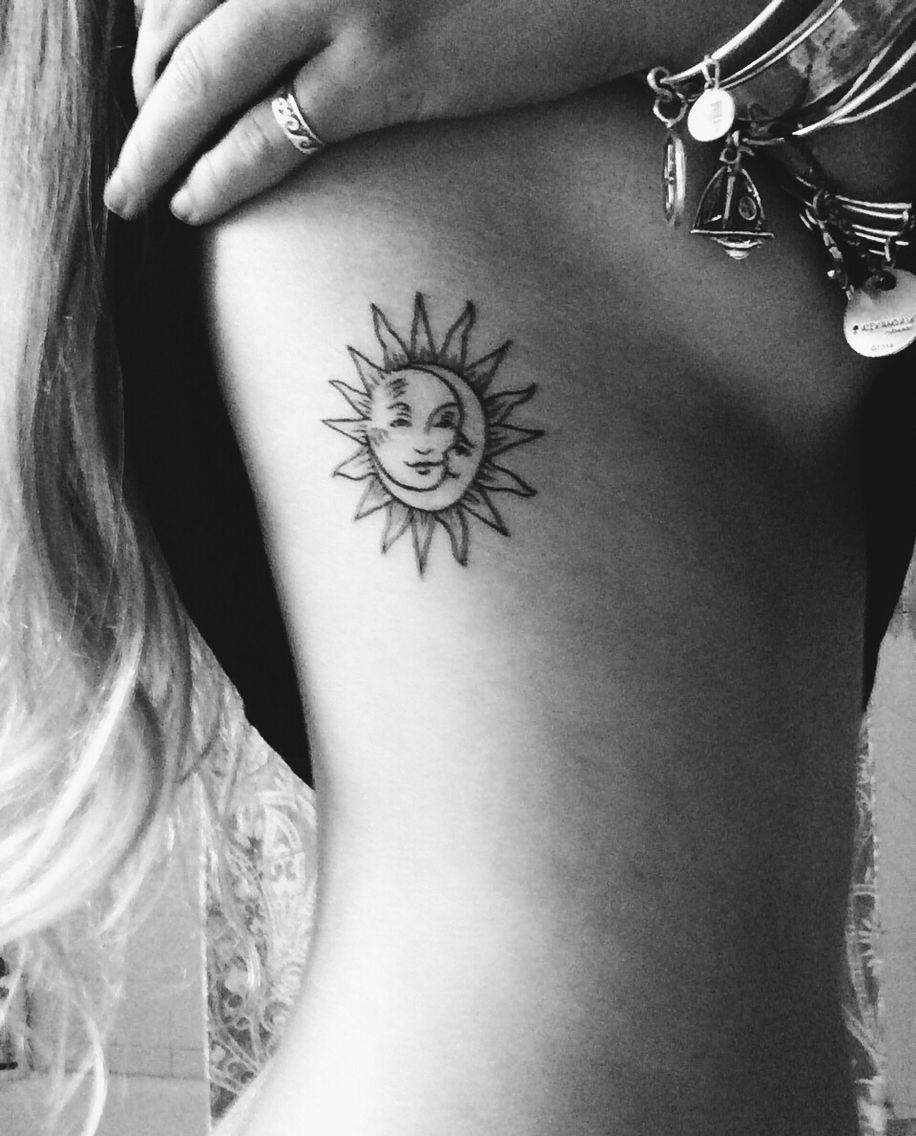 Moon In Sun Line Tattoo On Ribs Sun Tattoos Rib Tattoo Line Tattoos