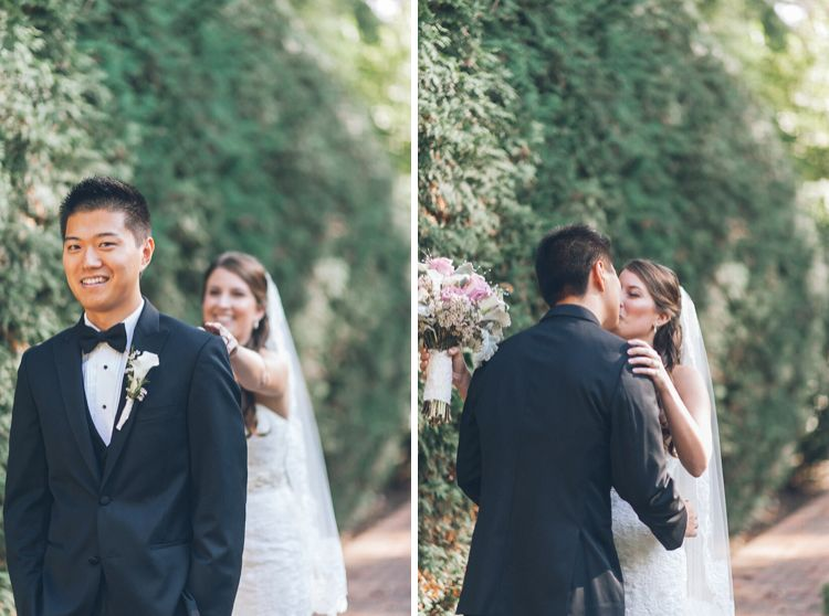 Leigh-Ellen and Allen doing first look before the wedding ceremony at The Estate at Florentine Gardens, NJ. Captured by NY NJ wedding photographers Pearl Paper Studio.