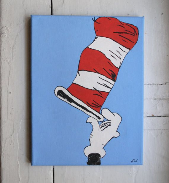 Cat In The Hat Painting Acrylic On Canvas By