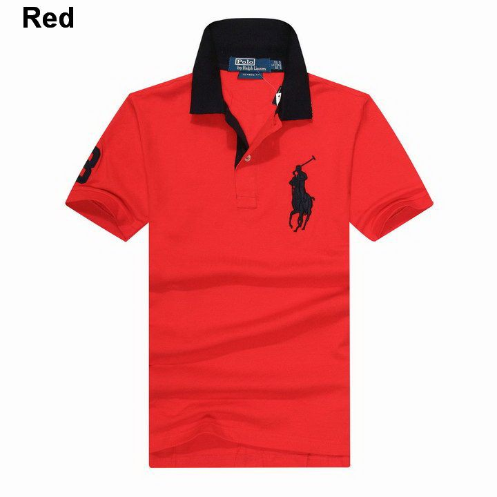 Ralph Lauren Custom Fitted Big Pony Contrast Collaer Polo Shirt Red