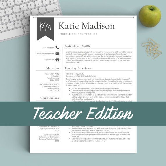 Such a cute teacher resume template!! I love the banner design - middle school teacher resume