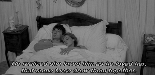"""""""He realized she loved him as he loved her, that some force drew them together."""" • from Jules et Jim (1962), directed by François Truffaut"""
