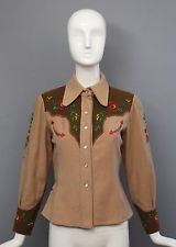 1930s ANTIQUE COWGIRL org vintage wool WESTERN shirt snaps & embroidery 1940s
