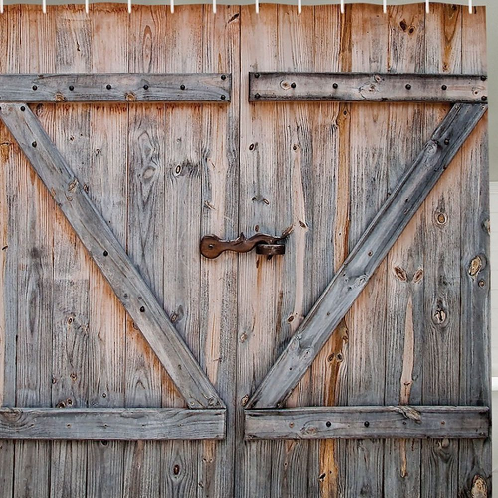 Rustic Country Barn Doors Old Wood Distressed Boards Fabric Bath Shower Curtain Wooden Garage Doors Rustic Curtains Country Style Curtains