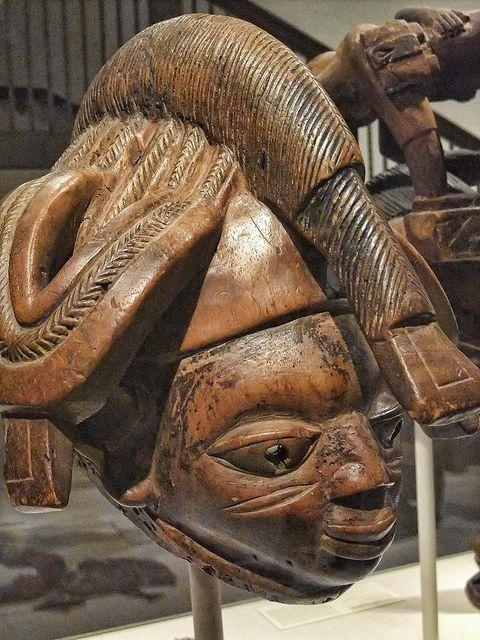 Mask for Gelede (Igi) Yoruba Egbado region Nigeria Early-Mid 20th century CE Wood   Photographed at the Art Institute of Chicago, Chicago, Illinois.