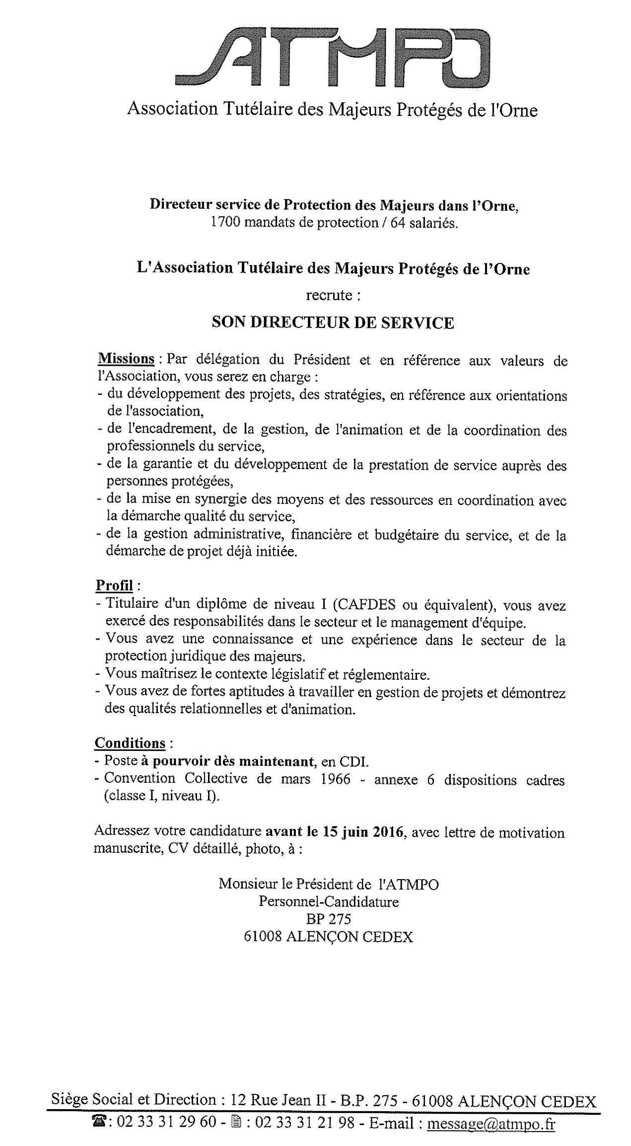 Association Tutelaire Des Majeurs Proteges De L Orne Directeur Service De Protection Des Majeurs Da Exemple Cv Exemple Cv Word Exemple De Lettre De Motivation