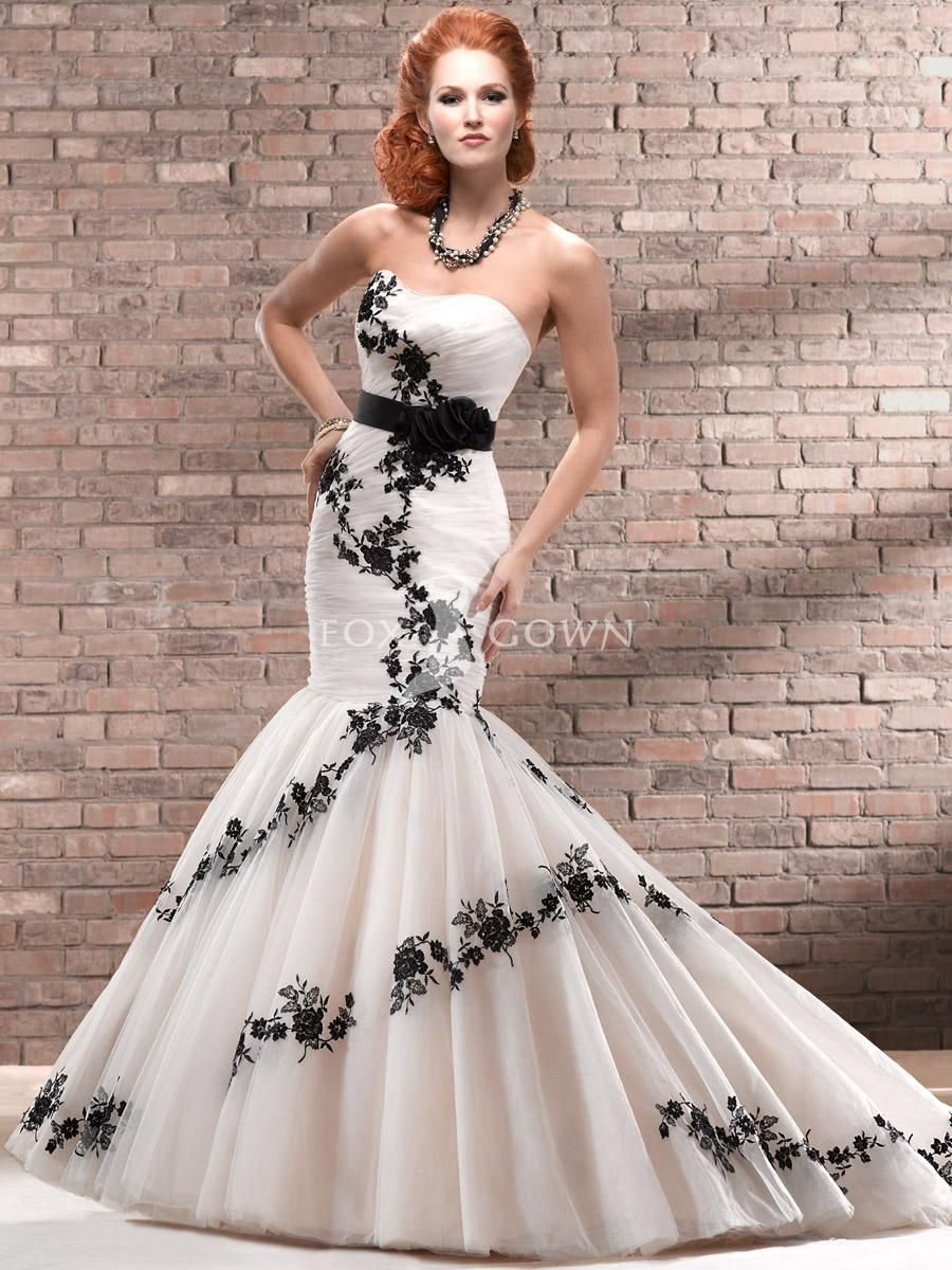 Wedding Dresses with Black Accents | Above >> black accent lace ...