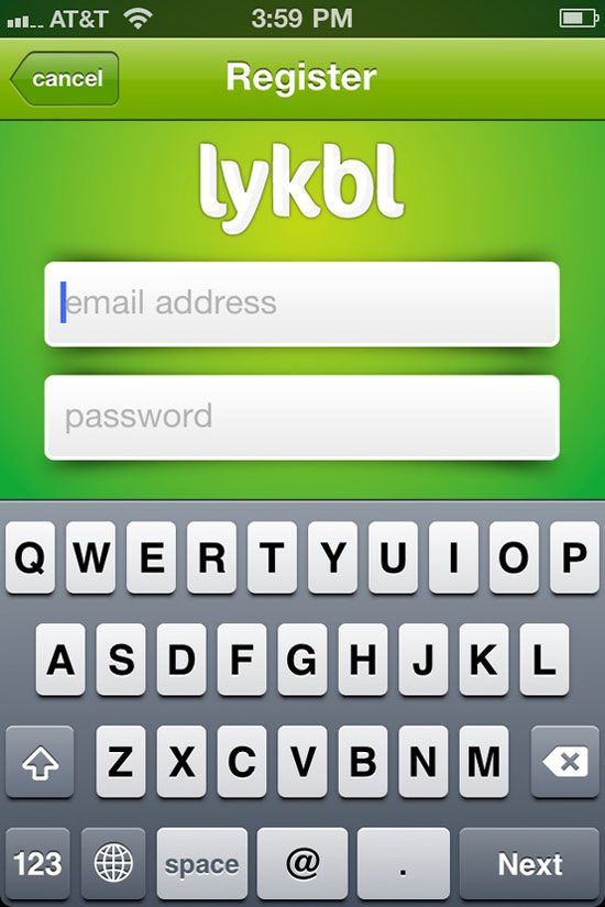 Lykbl Mobile User Interface Login Design Inspiration