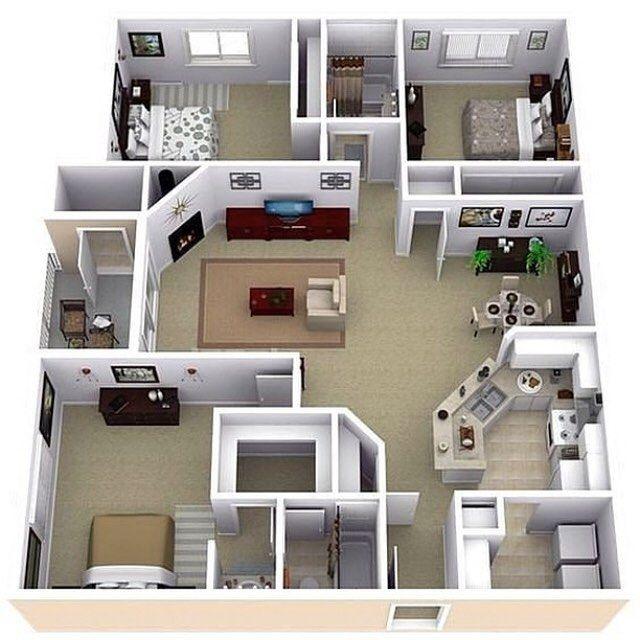 Arquitetura Integrando Pisos: Projeto 3D De Um Apartamento. Gostaram? 🏡📐📏🖊 ️