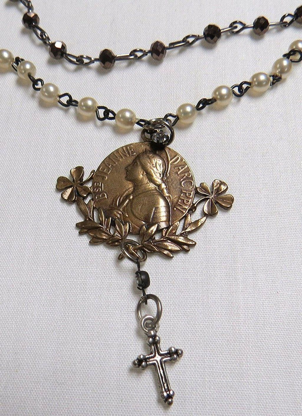 French at Heart - Bronze Joan of Arc Charm w/4 Leaf Clover Necklace