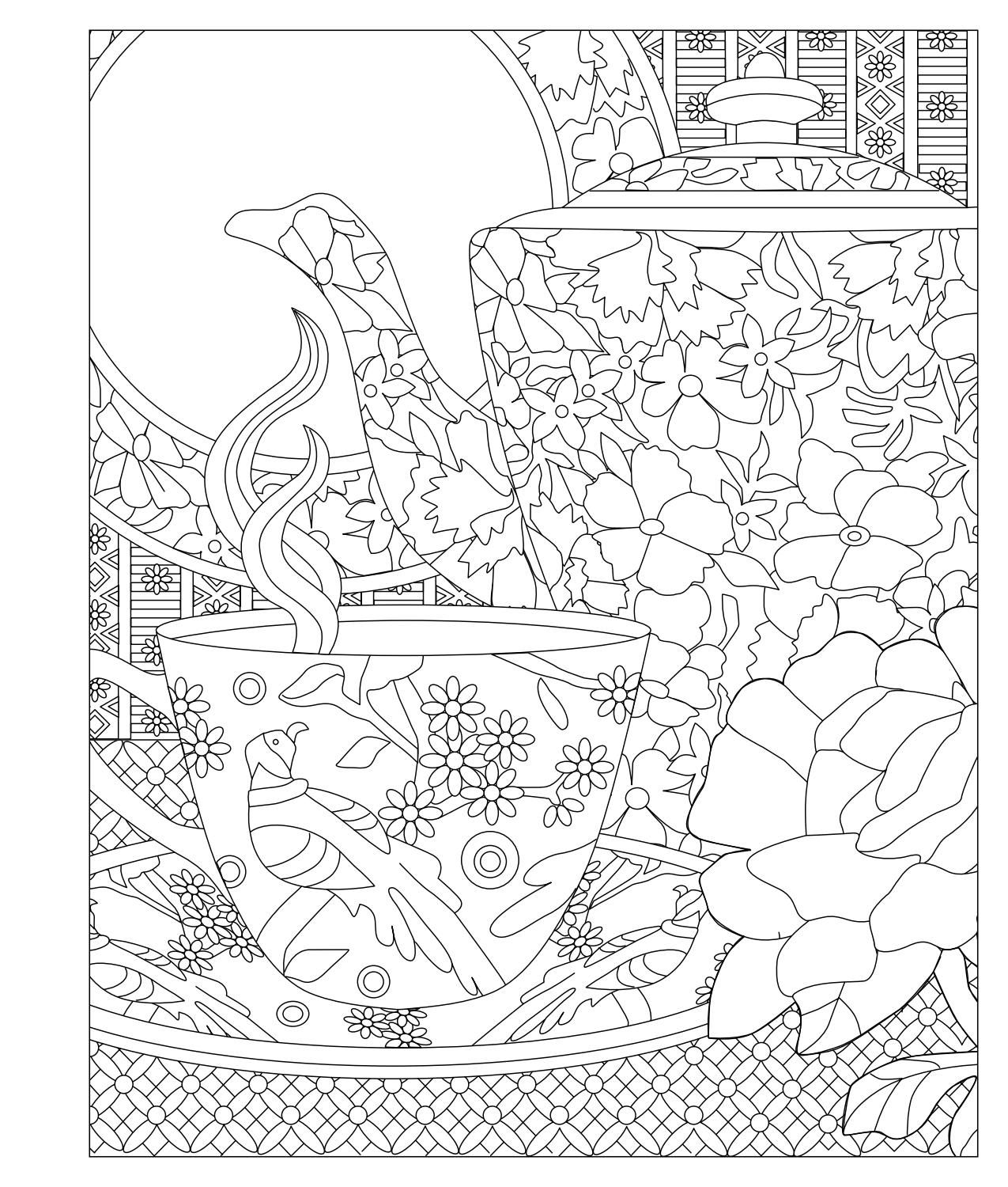 Elegant Tea Party Coloring Book Coloring Books Coloring Pages Doodle Coloring